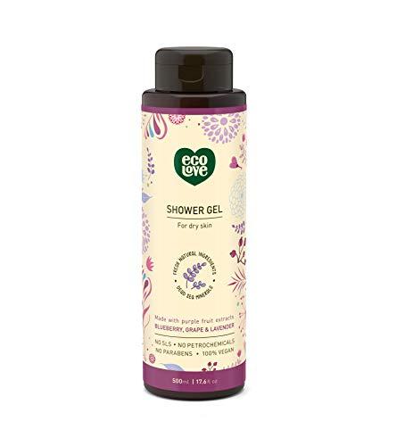 Cruelty Organic Shower - ecoLove - Moisturizing Body Wash for Dry Skin with Organic Blueberry Grape & Lavender Natural Body Wash for Women Men Kids Cruelty Free & Vegan Shower Gel, 17.6 oz