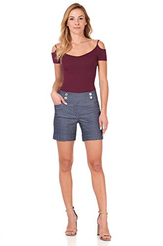 (Rekucci Women's Ease Into Comfort 6 inch Cuffed Short with Button Detail (18,Blue Denim Dots))