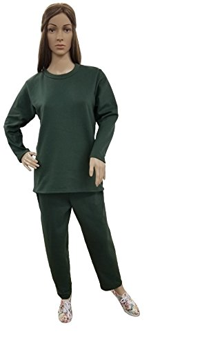 Women's Fleece Sweatsuit Set-Long Sleeve Comfort Fit Side Pocket Design Cotton Blend (Large, Green) ()