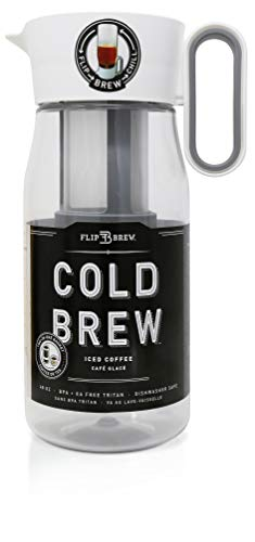 - Flip Brew by Zing Anything, Instant Iced Tea Maker, Cold Brew Coffee Maker, Two-in-One Cold Brew Coffee or Tea Maker, Multi-Purpose Pitcher, Dishwasher Safe, BPA/EA Free Tritan, 48 oz., White