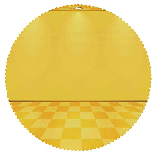 (Round Tablecloth [ Yellow Decor,Shades of Lemon Yellow in Every Tone Chess Like Room with Lighting Image,Yellow and Cream ] Home Tablecloths Deasign)
