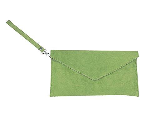 scarlet bijoux - Cartera de mano de Ante para mujer one size Verde - verde claro