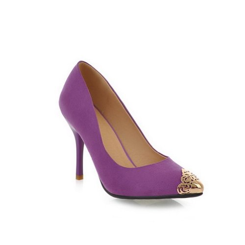 VogueZone009 Womans Closed Pointed Toe High Heel Spikes Stilettos Suede Frosted Solid Pumps with Steel Toes, Purple, 4.5 UK