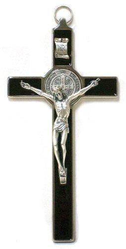 Saint Benedict Crucifix - All Metal with Inlaid Enamel and Silver Color Corpus - 8'' in Height - MADE IN ITALY, Black