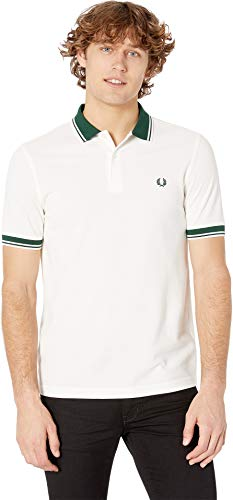 Fred Perry Men's Contrast Rib Polo Shirt, Snow White, Small