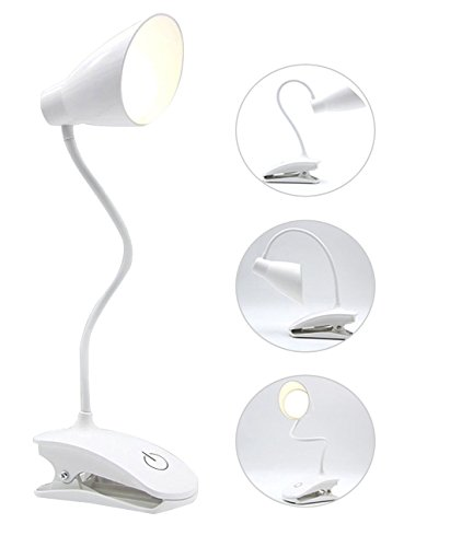 LED Clip Desk Lamp, USB Rechargeable Battery Operated Book Light, 3 Level Brightness with Touch Control, Dimmable Portable Reading Lamp 3W Adapter included - Lite Touch Lighting