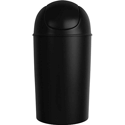 Grand Swing Top Garbage Large Capacity 10 Gallon Kitchen Trash Can with Lid, Black (Indoor/Outdoor Use)