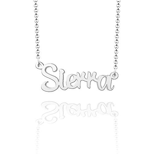LoEnMe Jewelry Sierra Name Necklace of Silver Plated Custom Made Sterling Silver Personalized Gift for Women Girls Couple
