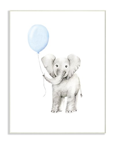 Stupell Industries Baby Elephant with Blue Balloon Watercolor Wall Plaque Art, 10 x 0.5 x 15, Proudly Made in USA by The Kids Room by Stupell