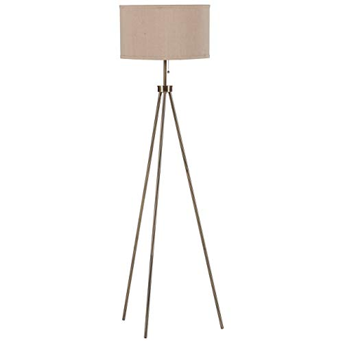 "Amazon Brand – Rivet Mid-Century Modern Tripod Living Room Decor Floor Lamp With Light Bulb And Drum Shade, 58.25""H, Antique Brass"