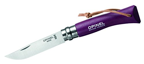 Opinel Knife, size 7, purple, leather strap, Beechwood, stainless steel Review