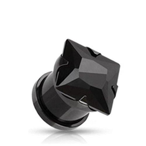 Coolbodyart Unisexe carré de Zirkonia Plug Tunnel anodisé titane 3-12mm Gem carré noir 4mm