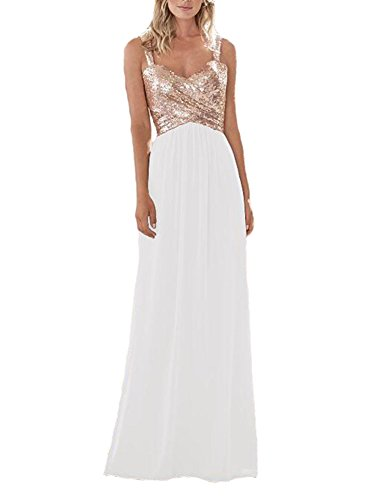Lilyla Women's Rose Gold Sequined Long/Short Bridesmaid Dress A Line Sweetheart Prom Dresses White US18W