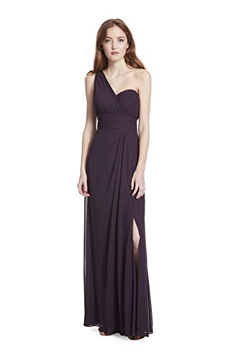Samantha Paige One-Shoulder Pleated A-Line Chiffon Formal (Plum Cocktail)