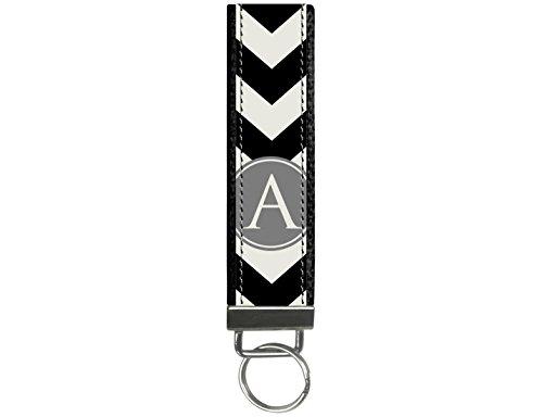 Snaptotes Personalized Monogram Black Chevron Design Wristlet Keychain Keyfob