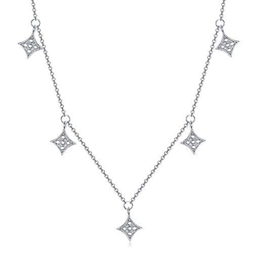 Dangling Pave Necklace (Sterling Silver Choker Necklace with Dangling CZ Pendants 14