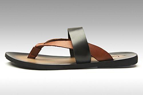 Fengxinzi US5.5-10 Casual Men Leather Flip FlopThongs Strap Slipper Sandals Sidles