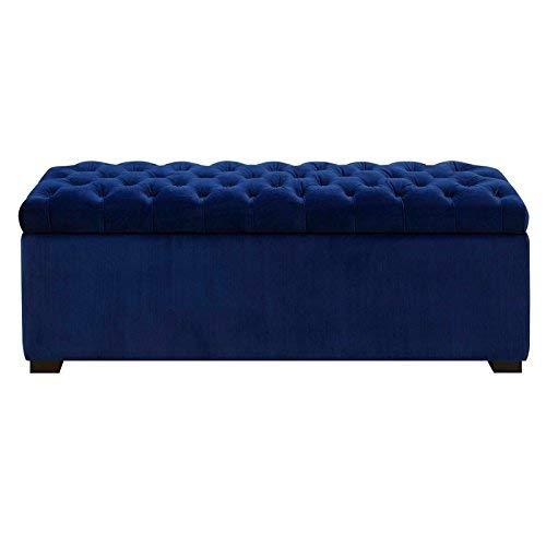 Picket House Furnishings Carson Shoe Storage Bench in Navy Blue (Blue Bench Velvet)