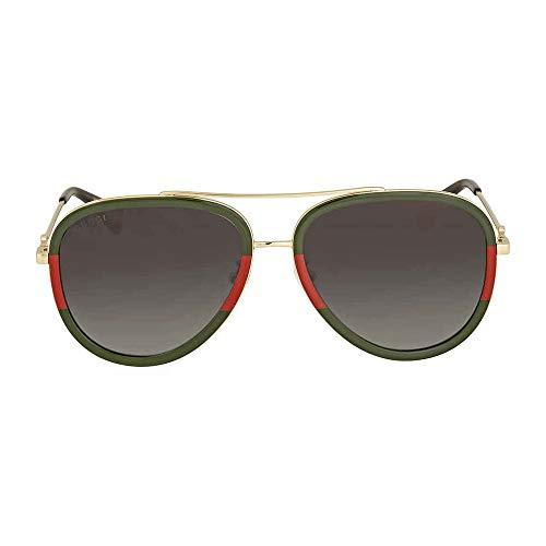 Gucci GG0062S 003 Gold/Green GG0062S Pilot Sunglasses Lens Category 3 Size 57 (Gucci Aviator-brillen)