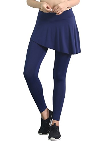 ts Skirted Leggings Yoga Skirts with Spandex Tights Athletic Tennis Skorts Gym Active Running Bottoms Moisture Wicking Nylon Solid Navy Size XL ()