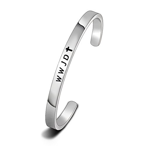 ewelry WWJD Cross Cuff Bracelet Bangle First Communion Gift (WWJD) ()