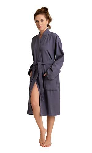Women's Robe, 100% Turkish Cotton Long Waffle Spa Bathrobe, Diamond Pattern (Gray, Small/Medium)