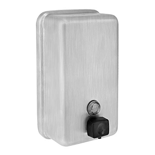 Alpine Manual Surface-Mounted Stainless Steel Liquid Soap Dispenser, 40 oz Capacity -