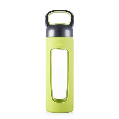- ZDZDZ 17OZ/520ML BPA-Free Wide Mouth Glass Water Bottle with handle,BPA Free Water Bottle,450g (Green)