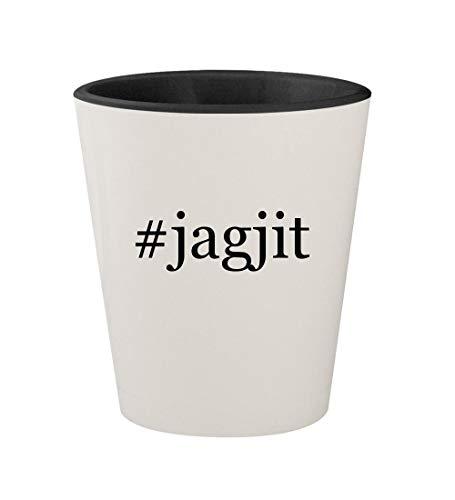 #jagjit - Ceramic Hashtag White Outer & Black Inner 1.5oz Shot Glass (Mirza Ghalib Best Ghazals)
