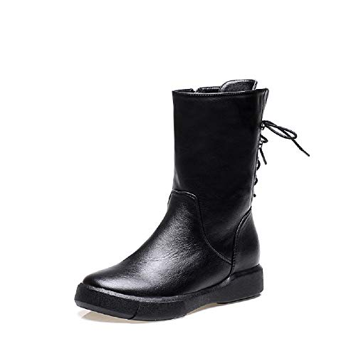 Boots Martin Flat Ankle 4 Gaslinyuan UK Black Size Zipper Comfort 5 Women Casual Color xn4Y0