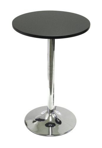 "Winsome Wood 20"" Round Tea Table, Black w/Metal Leg"