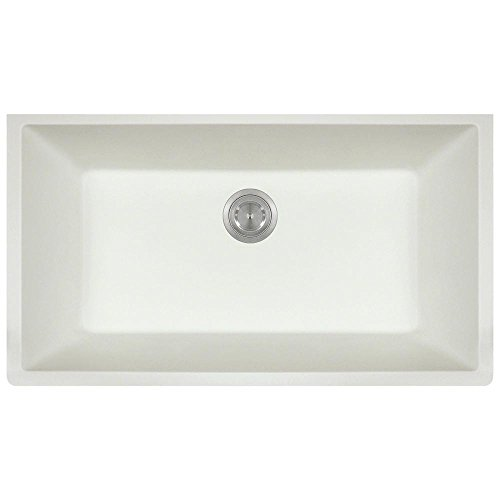 - 848 Large Single Bowl Quartz Kitchen Sink, White, No Additional Accessories