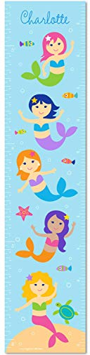 Mermaids Canvas Growth Chart - Olive Kids Personalized Mermaids Canvas Growth Chart