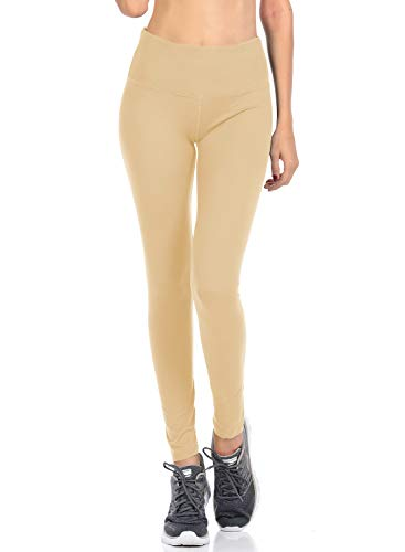 - VIV Collection Signature Leggings Yoga Waistband Soft w Hidden Pocket (XL, Light Beige)