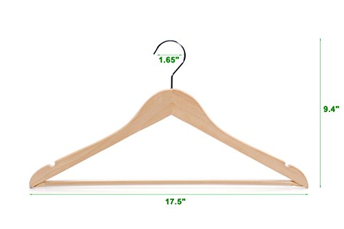TOPIA HANGER Extra Strong Wooden Suit Hangers, Deluxe Wood Coat Hangers, Glossy Finish with Extra Thick Chrome Hooks & Anti-Slip Bar 16-Pack CT01N by TOPIA HANGER (Image #2)