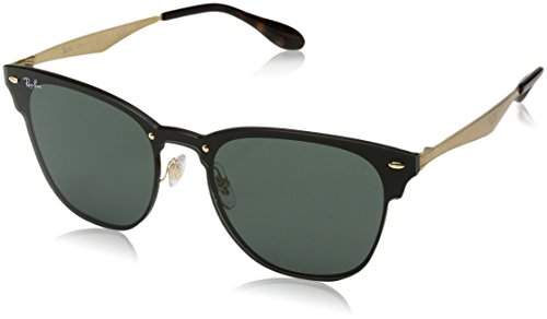 Ray-Ban RB3576N Blaze Clubmaster Sunglasses, Brushed Gold Green Classic, 47 - Ray Lens Ban Clubmaster Green