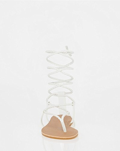 LE CH Women's up Lace White Braided Sandal TEAU w11dEr