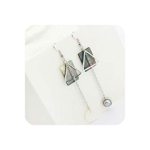 New Fashion Personality Hand Made Long Pearl Earrings Korean Girl Style Pop Geometric Shell Earrings,Gray 125043
