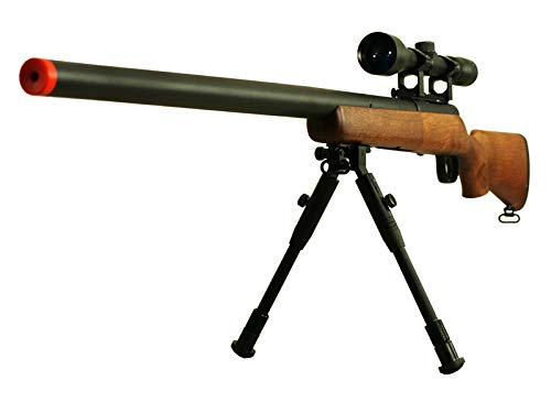 Sniper Rifle Bolt (BBTac Airsoft Sniper Rifle VSR-10 Bolt Action Powerful Spring Airsoft Gun with Hunting Scope and Bipod (Wood))