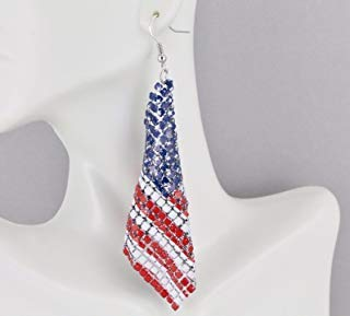 (Stars and Stripes earrings Red White Blue American Flag earrings 4th of July)