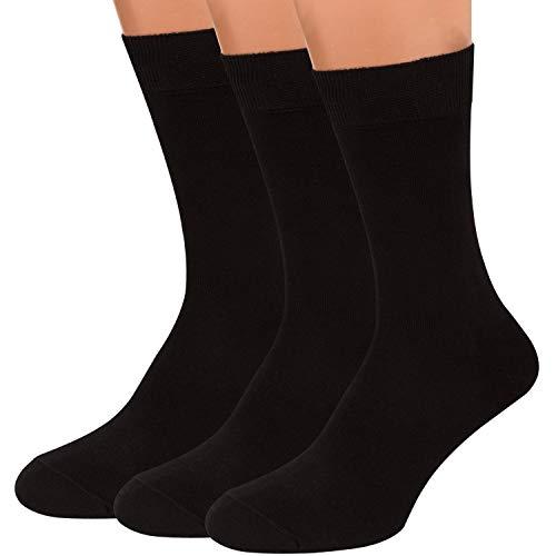 Black Dress Socks Men, 3 packs Rich European Organic Cotton Crew Sized AIR SOCKS (Black, XL)