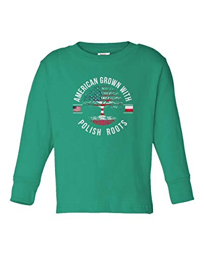 American Grown with Polish Roots Youth & Toddler Long Sleeve Tee Shirt (Green,2T)