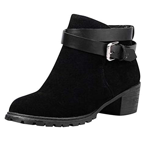 Gyoume Ankle Boots Women Winter Mid Heel Boots Shoes Buckle Boots Point Toe Dress Boots Shoes