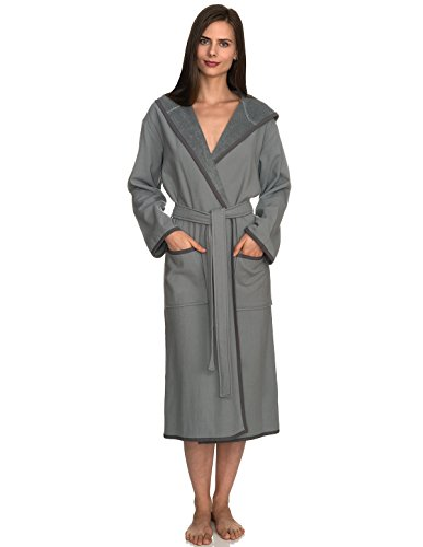 TowelSelections Women's Robe, Cotton Lined Hooded Terry Bathrobe Small/Medium Monument