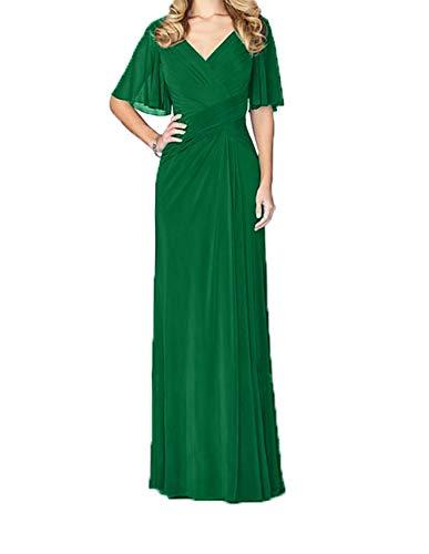 Festlichkleider Ausschnitt V Grün Damen Jungendweihe Lang Charmant Elegant Brautmutterkleider Abendkleider Kleider pOPnHY