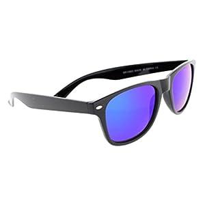 Classic Retro Wayfarer Non Polarized Sunglasses 80s Casual UV400 (Black, Blue Mirror)