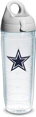 - Tervis 1068572 NFL Dallas Cowboys Emblem Individual Water Bottle with Gray lid, 24 oz, Clear