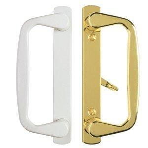 Aspen Zinc Die-Cast Sliding Glass Door Handle in White Exterior in Polished Brass Durable hardware door locks, door handles ()