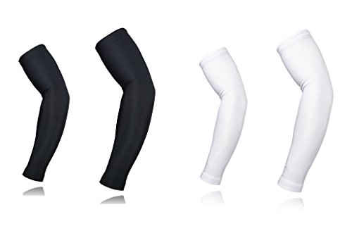 ARSUXEO Cycling Sleeves Armwarmers MTB Sleeves Arm warmer UV Protection XTN01 Black White Together 2 Pairs Size - Cycling Warmers