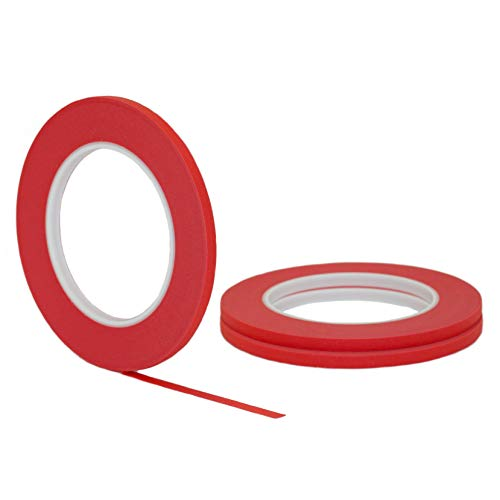 d STIKK Red Painters Tape 14 Day Easy Removal Trim Edge Thin Narrow Finishing Masking Tape (.25 in 6MM) ()